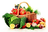 raw vegetables and wicker basket