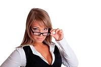 Young woman in business suit look over glasses