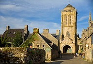 Street view and St Ronan church  Locronan Lokorn in Breton Finistère department in Bretagne in northwestern France