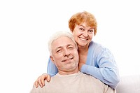 Elderly couple on a white background
