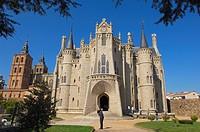 Episcopal Palace designed by Gaudi now Museo de los Caminos dedicated to the Way of Santiago, Astorga, Silver Route, Leon province, Castilla y Leon, S...