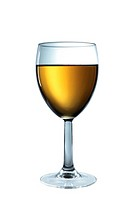 A full glass of white wine isolated on a white background