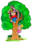 Tree with two cartoon kids _ isolated illustration.