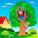 Garden with two kids and tree _ color illustration.