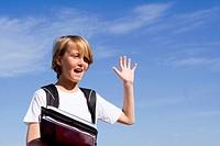 happy student waving,