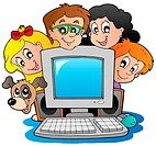 Computer with cartoon kids and dog _ thematic illustration.