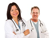 Hispanic Female Doctor and Male Colleague Behind