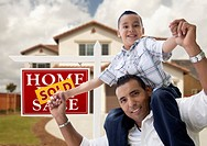 Hispanic Father and Son in Front of House, Sold Si
