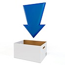 3d download box with blue arrow