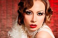 fashionable woman with art visage _ burlesque