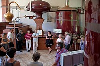WINE TOURISM. GROUP TOUR OF THE CALVADOS DISTILLERY, CHATEAU DE BREUIL_EN_AUGE, THE CIDER ROAD, CALVADOS 14, FRANCE