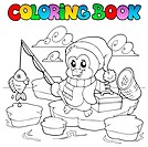 Coloring book fishing penguin _ thematic illustration.