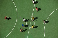 Arial view of men playing soccar
