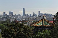 City scape of Beijing with Jingshan Pagoda in foreground, China