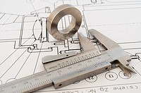 Caliper on technical drawing