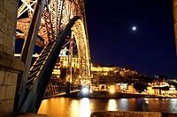 Dom Luis I bridge over Douro river at dusk, Porto, Portugal