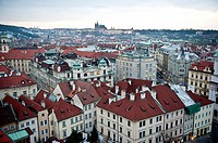 View of the rooftops around the old town square of Prague, Czech Republic