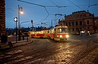 Moving tram at the old town of Prague, Czech Republic