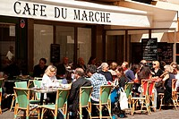 Cafe in Rue Cler on the Left Bank of Paris, France