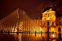 The Pyramide by the Musee du Louvre at night, Paris, France