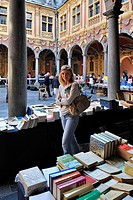 Second_hand book market in the inner court of the Vieille Bourse, Lille, France
