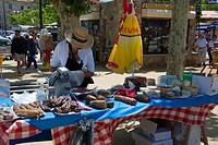 Market stall, Place Paoli, L\´Ile_Rousse, Corsica, France
