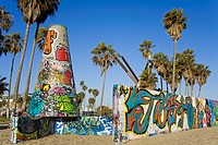 Art Walls, legal graffiti, on Venice Beach, Los Angeles, California, United States of America, North America