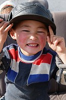 portrait of an ethnic Kazakh boy in Bayan-Ölgii in Western Mongolia