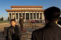 People and soldier in front of Mao Zedong´s Mausoleum, in Tiananmen Square,Beijing, China
