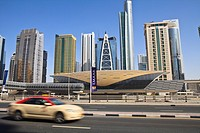Metro station, Sheikh Zayed Road, Dubai, United Arab Emirates, Middle East