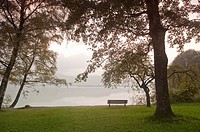 Bench on Kochelsee lake shore, Bavaria, Germany