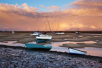 A spectacular sky on an autumn day at Wells_next_the_Sea harbour on the North Norfolk coast, Norfolk, England, United Kingdom, Europe