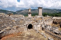 The amphitheatre at the Lycian site of Xanthos, UNESCO World Heritage Site, Antalya Province, Anatolia, Turkey, Asia Minor, Eurasia