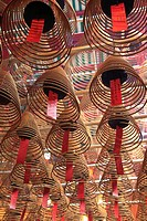Incense coils, Man Mo Temple, Hong Kong, China, Asia