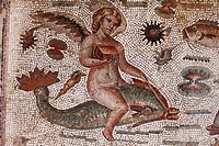 Angel riding on a dolphin, part of the Amphitrite Roman mosaic, House of Amphitrite, Bulla Regia Archaeological Site, Tunisia, North Africa, Africa