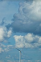 Wind turbine in clouds
