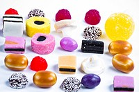 Many candy on white background.Fruit snacks