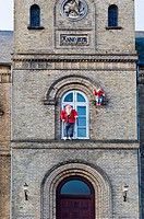 Christmas imps, ´Nisse´, at the historic city hall of Varde, town in Denmark