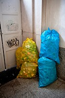 Recyclables in bags, subway station