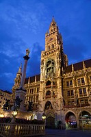 City hall and Marian column at night, New City Hall, Marienplatz, Munich, Bavaria, Germany, august