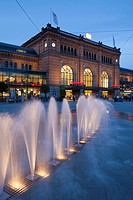 The Central railway station in Hannover at sunset, Lower Saxony, Germany