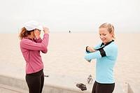 Caucasian women preparing for exercise