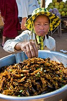 Fried grasshoppers, Skun market, Surrounding of Siem Reap, Cambodia
