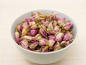 Bowl of rosebuds, close up