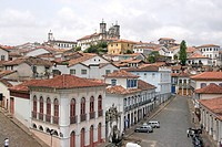 Brazil, Minas Gerais, Ouro Preto, cluster of colonial buildings in hillside town