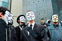 Anonymous Protest Against Internet Anti-Piracy Law, ACTA (Anti-Counterfeiting Trade Agreement), that threatens freedom of the Internet, Paris, France,