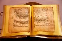 ´Glosas Emilianenses´ first examples of writing in Spanish and Basque, Yuso Monastery, San Millan de la Cogolla, La Rioja, Spain