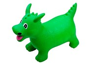 Green inflatable toy dragon