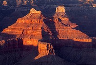 Sandstone buttes redden at sunset, from Hopi Point, South Rim, Grand Canyon National Park, Arizona, USA
