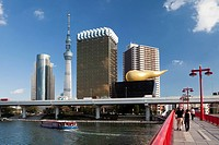 Japan, Asia, Tokyo, city, Sumida, River, New Asakusa, Skyline, Sky Tree Tower, antenna, architecture, belvedere, blue, boat, bridge, colourful, modern...